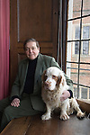 Robert Cecil Lord Salisbury at Hatfield House Hatfield. Hertfordshire UK. 2011 with pet dog a Clumber Spaniel