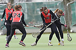 Frankfurt am Main, Germany, March 14: During the Damen 1. Bundesliga West Lacrosse match between SC 1880 Frankfurt and Duesseldorfer Hirschkuehe on March 14, 2015 at the SC 1880 Frankfurt in Frankfurt am Main, Germany. Final score 20-13 (13-8). (Photo by Dirk Markgraf / www.265-images.com) *** Local caption *** Clara Pustoslemsek #24 of SC 1880 Frankfurt, Erin Hamling #6 of SC 1880 Frankfurt, Laura Klare #1 of Duesseldorfer Hirschkuehe