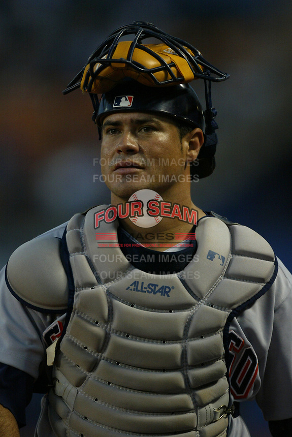 Humberto Quintero of the San Diego Padres during a 2003 season MLB game at Dodger Stadium in Los Angeles, California. (Larry Goren/Four Seam Images)