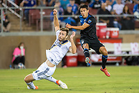 STANFORD, CA - JUNE 29: Shea Salinas #6, Dave Romney #4 during a Major League Soccer (MLS) match between the San Jose Earthquakes and the LA Galaxy on June 29, 2019 at Stanford Stadium in Stanford, California.