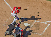 7 September 2014: Washington Nationals outfielder Jayson Werth connects against the Philadelphia Phillies at Nationals Park in Washington, DC. The Nationals defeated the Phillies 3-2 to salvage the final game of their 3-game series. Mandatory Credit: Ed Wolfstein Photo *** RAW (NEF) Image File Available ***