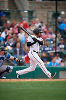 Rochester Red Wings LaMonte Wade Jr (4) at bat during an International League game against the Charlotte Knights on June 16, 2019 at Frontier Field in Rochester, New York.  Rochester defeated Charlotte 3-2 in the second game of a doubleheader.  (Mike Janes/Four Seam Images)