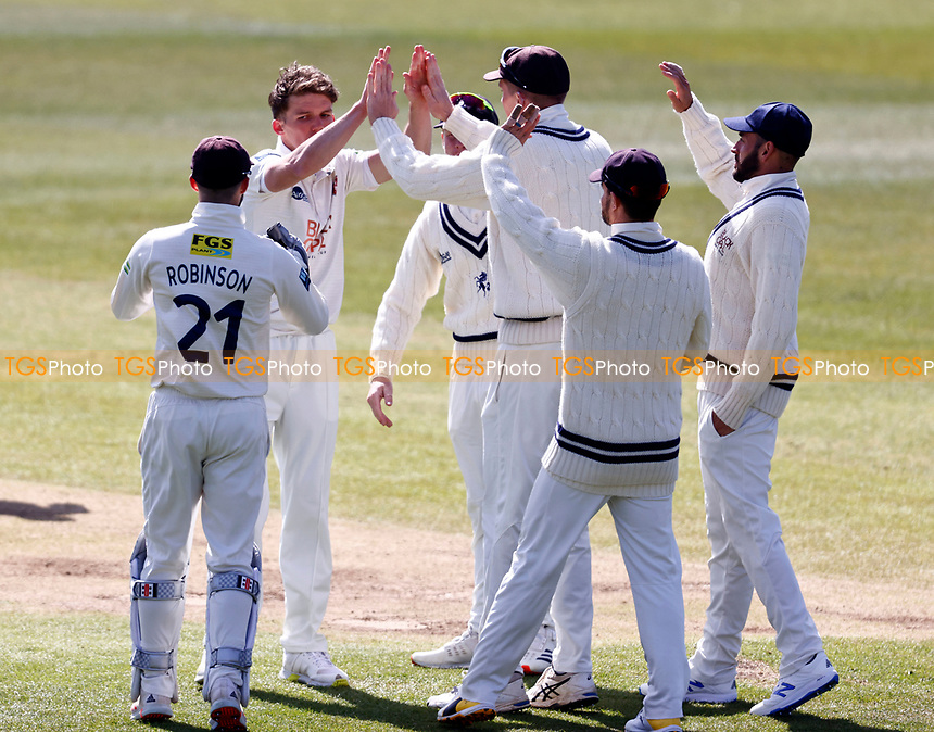 Matt Milnes (2nd L) of Kent is congratulated after taking the wicket of Alex Davies during Kent CCC vs Lancashire CCC, LV Insurance County Championship Group 3 Cricket at The Spitfire Ground on 22nd April 2021