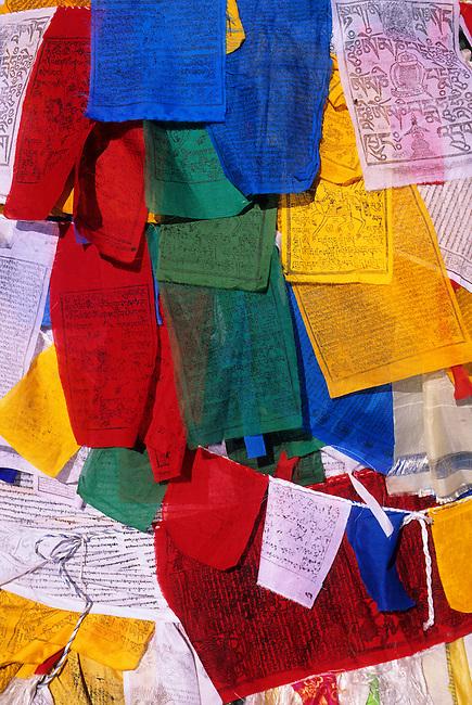 CHINA, TIBET, LHASA, JOKHANG TEMPLE, PRAYER FLAGS