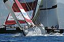 Louis Vuitton Trophy La Maddalena 3 giugno 2010. Mascalzone Latino incrocia la rotta con Synergy Russian Sailing Team in una delle prove dei quarti di finale conclusi con la vittoria dei russi