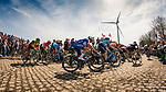 Peloton with Yves LAMPAERT from Belgium of Quick-Step Floors at the 4 star cobblestone sector 26 from Fontaine-au-Tertre to Quievy during the 2018 Paris-Roubaix race, France, 8 April 2018, Photo by Thomas van Bracht / PelotonPhotos.com | All photos usage must carry mandatory copyright credit (Peloton Photos | Thomas van Bracht)