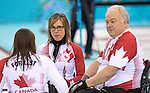 Sonja Gaudet, Jim Armstrong, and Ina Forrest, Sochi 2014 - Wheelchair Curling // Curling en fauteuil roulant.<br />
