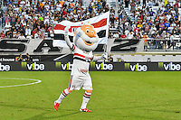 Orlando, FL - Saturday Jan. 21, 2017: The São Paulo mascot gets the crowd going prior to the start of the first half of the Florida Cup Championship match between São Paulo and Corinthians at Bright House Networks Stadium.