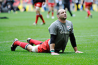 Steve Borthwick of Saracens stretches before  during the Aviva Premiership match between Saracens and Harlequins at Wembley Stadium on Saturday 31st March 2012 (Photo by Rob Munro)