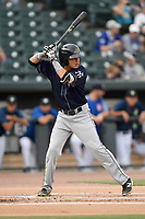 Shortstop Diego Castillo (7) of the Charleston RiverDogs bats in a game against the Columbia Fireflies on Monday, August 7, 2017, at Spirit Communications Park in Columbia, South Carolina. Columbia won, 6-4. (Tom Priddy/Four Seam Images)