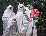 Two women walk by the side of the road in the troubled Buner District of Pakistan's North West Frontier Province. The Pakistani army claims to have driven the Taliban from the area and many people are leaving the refugee camps in Swabi and heading home. Reports of continuing Taliban presence in the area continue to surface however and it is clear the area is still far from safe and secure.