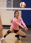 Marymount's Courtney Phung passes in a college volleyball match against Shenandoah at Marymount University in Arlington, Vir., on Tuesday, Oct. 8, 2013.<br /> Photo by Cathleen Allison