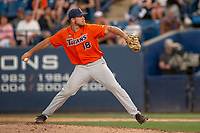 Cal State Fullerton Titans Brett Conine (18) delivers a pitch to the plate against the University of Washington Huskies at Goodwin Field on June 10, 2018 in Fullerton, California. The Huskies defeated the Titans 6-5. (Donn Parris/Four Seam Images)