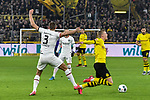 14.02.2020, Signal Iduna Park, Dortmund, GER, 1. BL, Borussia Dortmund vs Eintracht Frankfurt, DFL regulations prohibit any use of photographs as image sequences and/or quasi-video<br /> <br /> im Bild / picture shows / Stefan Ilsanker (#3, Eintracht Frankfurt) foult Erling Haland (#17, Borussia Dortmund) <br /> <br /> Foto © nordphoto/Mauelshagen