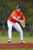 Illinois Fighting Illini pitcher Luke Joyce #30 delivers a pitch during a game against the Notre Dame Fighting Irish at the Big Ten/Big East Challenge at Walter Fuller Complex on February 17, 2012 in St. Petersburg, Florida.  (Mike Janes/Four Seam Images)