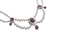 BNPS.co.uk (01202 558833)<br /> Pic: Bonhams/BNPS<br /> <br /> A crystal necklace that was worn by legendary actress Vivien Leigh in Gone With the Wind has emerged for sale for £23,000.<br /> <br /> The stylish piece featured in the film when Leigh's character Scarlett O'Hara is on her honeymoon with Rhett Butler - played by Clark Gable.<br /> <br /> It is seen as Scarlett gorges herself on dinners and desserts, while Rhett informs her that he will divorce her if she gets too fat.