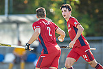 Mannheim, Germany, October 25: During the 1. Bundesliga men fieldhockey match between Mannheimer HC (red) and Harvestehuder THC (yellow) on October 25, 2020 at Am Neckarkanal in Mannheim, Germany. Final score 6-4 (HT 2-3). (Copyright Dirk Markgraf / www.265-images.com) *** Gonzalo Peillat #2 of Mannheimer HC, Teo Hinrichs #14 of Mannheimer HC