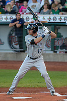 West Michigan Whitecaps outfielder Mike Gerber (13) at bat during game five of the Midwest League Championship Series against the Cedar Rapids Kernels on September 21st, 2015 at Perfect Game Field at Veterans Memorial Stadium in Cedar Rapids, Iowa.  West Michigan defeated Cedar Rapids 3-2 to win the Midwest League Championship. (Brad Krause/Four Seam Images)