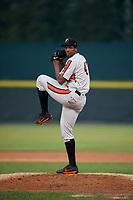 Aberdeen IronBirds starting pitcher Hector Guance (47) delivers a pitch during a game against the Tri-City ValleyCats on August 27, 2018 at Joseph L. Bruno Stadium in Troy, New York.  Aberdeen defeated Tri-City 11-5.  (Mike Janes/Four Seam Images)
