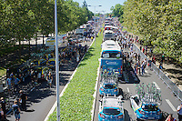 team buses lined up at the start<br /> <br /> stage 15: Bourg-en-Bresse to Culoz (160km)<br /> 103rd Tour de France 2016