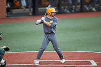 Connor Pavolony (17) of the Tennessee Volunteers at bat against the Charlotte 49ers at Hayes Stadium on March 9, 2021 in Charlotte, North Carolina. The 49ers defeated the Volunteers 9-0. (Brian Westerholt/Four Seam Images)