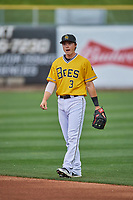 Preston Palmeiro (3) of the Salt Lake Bees on defense against the Tacoma Rainiers at Smith's Ballpark on May 16, 2021 in Salt Lake City, Utah. The Bees defeated the Rainiers 8-7. (Stephen Smith/Four Seam Images)