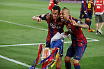 Barcelona´s Pedro and Dani Alves celebrate after winning the 2014-15 Copa del Rey final match against Athletic de Bilbao at Camp Nou stadium in Barcelona, Spain. May 30, 2015. (ALTERPHOTOS/Victor Blanco)