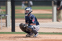 Cleveland Indians catcher Logan Ice (1) during a Minor League Spring Training game against the Chicago White Sox at Camelback Ranch on March 16, 2018 in Glendale, Arizona. (Zachary Lucy/Four Seam Images)