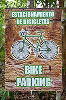 Bicycle Parking Sign, Coba, Riviera Maya, Yucatan, Mexico.