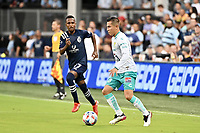 KANSAS CITY, KS - AUGUST 10: Ivan Rodriguez #8 Club Leon with the ball during a game between Club Leon and Sporting Kansas City at Children's Mercy Park on August 10, 2021 in Kansas City, Kansas.