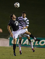 The number 5 ranked Charlotte 49ers play the University of South Carolina Gamecocks at Transamerica field in Charlotte.  Charlotte won 3-2 in the second overtime.  J.P. Rafferty (23), Anthony Perez (21)