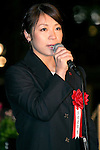 Tokyo, Japan - The London Olympic silver medalist for weight lifting, Hiromi Miyake attends the opening ceremony of the Tokyo Michiterasu 2013, in front of Tokyo Station on December 24, 2013. The illumination of this year presents the light wheels on light railway and the light train windows. The event starts from December 24th to 29th at around Tokyo Station. (Photo by Rodrigo Reyes Marin/AFLO)