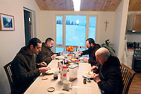 "Breakfast .The new Munkeby Mariakloster - kloster is Norwegian for monastery . The four founding French monks will establish their discrete presence as a contemplative monastery according to the Rule of Saint Benedict, written in the 6th century. Brother Joel (55) & Cîteaux's Prior, brothers Arnaud (31), Bruno (33) and Cyril (81), have all chosen to be part of the founding community, despite Norway's rude climate and winter darkness at latitude 63º N, not far from the arctic circle.Munkeby, the ""place of the monks"" was the third and northernmost Norwegian monastery established by the Cistercians in the 12th century"