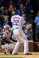 Chicago Cubs Jason Heyward (22) bats in the sixth inning during Game 5 of the Major League Baseball World Series against the Cleveland Indians on October 30, 2016 at Wrigley Field in Chicago, Illinois.  (Mike Janes/Four Seam Images)