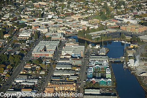 aerial photograph downtown Petaluma, Sonoma county, California