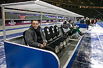 Hertha Berlin 1 Sporting Lisbon 0, 16/12/2010. Olympic Stadium, Europa League. Visiting manager Carlos Augusto Carvalhal taking his seat on the bench before Hertha Berlin take on Sporting Lisbon in the Olympic Stadium in Berlin in a UEFA Europa League group match. Hertha won the match by 1 goal to nil to press to the knock-out round of the cup. 2009/10 was the the first year in which the Europa League replaced the UEFA Cup in European football competition. Photo by Colin McPherson.