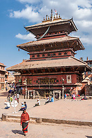 Bhaktapur, Nepal.  Bhairabnath Temple.  The temple suffered some damage in the April 2015 earthquake but is repairable.
