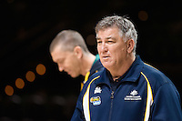 Melbourne, 14 August 2015 - Coach of the Australian Opals women's basketball team, Brendan Joyce inspects the court a press conference on the eve of the game one of the 2015 FIBA Oceania Championships at Rod Laver Arena in Melbourne, Australia. (Photo Sydney Low / sydlow.com)