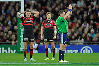 20131018 Copyright onEdition 2013©<br /> Free for editorial use image, please credit: onEdition<br /> <br /> Owen Farrell and David Strettle of Saracens look dismayed at the decision of Referee Nigel Owens during the Heineken Cup match between Saracens and Stade Toulousain at Wembley Stadium on Friday 18th October 2013 (Photo by Rob Munro)<br /> <br /> For press contacts contact: Sam Feasey at brandRapport on M: +44 (0)7717 757114 E: SFeasey@brand-rapport.com<br /> <br /> If you require a higher resolution image or you have any other onEdition photographic enquiries, please contact onEdition on 0845 900 2 900 or email info@onEdition.com<br /> This image is copyright onEdition 2013©.<br /> This image has been supplied by onEdition and must be credited onEdition. The author is asserting his full Moral rights in relation to the publication of this image. Rights for onward transmission of any image or file is not granted or implied. Changing or deleting Copyright information is illegal as specified in the Copyright, Design and Patents Act 1988. If you are in any way unsure of your right to publish this image please contact onEdition on 0845 900 2 900 or email info@onEdition.com