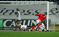ATTENTION SPORTS PICTURE DESK<br /> Pictured: Ishmael Miller of West Bromwich Albion (R) celebrating his goal while Dorus de Vries goalkeeper for Swansea (L) looks back to his nets in disbelief.<br /> Re: Coca Cola Championship, Swansea City Football Club v West Bromwich Albion at the Liberty Stadium, Swansea, south Wales. Tuesday 16 March 2010