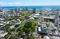Aerial of Thomas Sq and the Blaisdell Center looking towards the ocean