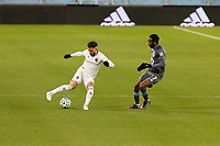 ST PAUL, MN - NOVEMBER 22: Keegan Rosenberry #2 of Colorado Rapids  moves the ball during a game between Colorado Rapids and Minnesota United FC at Allianz Field on November 22, 2020 in St Paul, Minnesota.