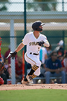GCL Pirates Sammy Siani (5) bats during a Gulf Coast League game against the GCL Twins on August 6, 2019 at Pirate City in Bradenton, Florida.  GCL Twins defeated the GCL Pirates 4-2 in the first game of a doubleheader.  (Mike Janes/Four Seam Images)