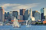 Sunset sails on Boston Harbor, Boston, MA, USA