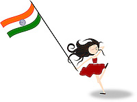 Happy girl running holding Indian national flag in hand - stock vector.<br /> <br /> Suitable for Indian Independence day, Republic day or other patriotic themes.<br /> <br /> This image is also available as scalable EPS - Illustrator 10 and PNG format.