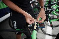 Ruben Plaza (ESP/Orica-BikeExchange) sticking today's profile to his handlebars<br /> <br /> Stage 19:  Albertville › Saint-Gervais /Mont Blanc (146km)<br /> 103rd Tour de France 2016