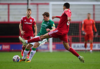 Lincoln City's James Jones vies for possession with Accrington Stanley's Jon Russell<br /> <br /> Photographer Andrew Vaughan/CameraSport<br /> <br /> The EFL Sky Bet League One - Accrington Stanley v Lincoln City - Saturday 21st November 2020 - Crown Ground - Accrington<br /> <br /> World Copyright © 2020 CameraSport. All rights reserved. 43 Linden Ave. Countesthorpe. Leicester. England. LE8 5PG - Tel: +44 (0) 116 277 4147 - admin@camerasport.com - www.camerasport.com