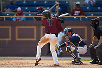 Chet Sikes (7) of the North Carolina Central Eagles at bat against the North Carolina A&T Aggies at Durham Athletic Park on April 10, 2021 in Durham, North Carolina. (Brian Westerholt/Four Seam Images)