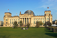 Germany, Berlin. Reichstag.  Bundestag.  Rebuilt after unification by architect Norman Foster.