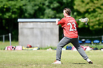 GER - Hannover, Germany, May 31: During the Men Lacrosse Playoffs 2015 match between SCC Blax Berlin (white) and SC 1880 Frankfurt (red) on May 31, 2015 at Deutscher Hockey-Club Hannover e.V. in Hannover, Germany. Final score 14:6. (Photo by Dirk Markgraf / www.265-images.com) *** Local caption *** Felix Leisler-Kiep #23 of SC 1880 Frankfurt